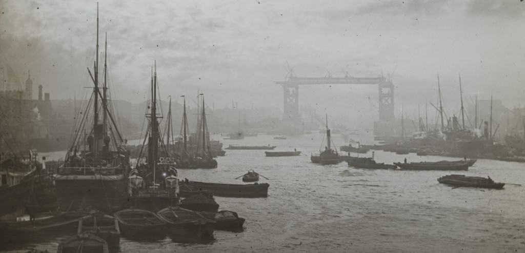IN257 - Lower Pool, with Tower Bridge under construction- Magic Lantern Slide- photographer unknown -