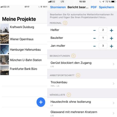 Baustellen-App-Bauberichte-doppel-screenshot